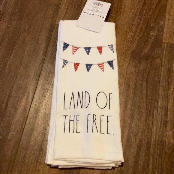 "Rae Dunn ""LAND OF THE FREE"" Dishtowel Set (2)"